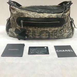 Auth Chanel Tweed Clover Charn Handbag Satchel